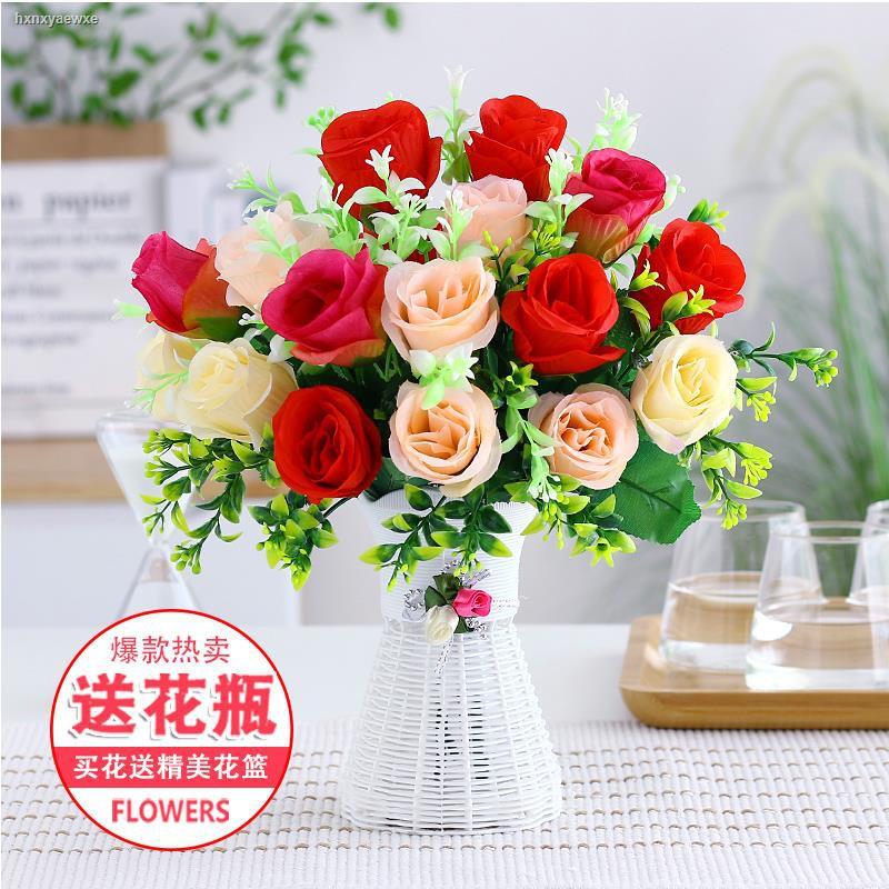 การจำลองพันธุ์ไม้อวบน้ำ❦✴✳ดอกไม้ปลอมจำลองดอกไม้ชุดตกแต่งบ้านดอกไม้ตกแต่งห้องนั่งเล่น ตกแต่งดอกไม้พลาสติกในร่มดอกไม้ผ้าไห