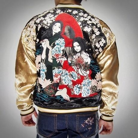 SUKAJAN พรีเมียมเกรด Japanese Souvenir Jacket แจ็คเกตซูกาจันลาย สาวสวยคู่ซากุระ