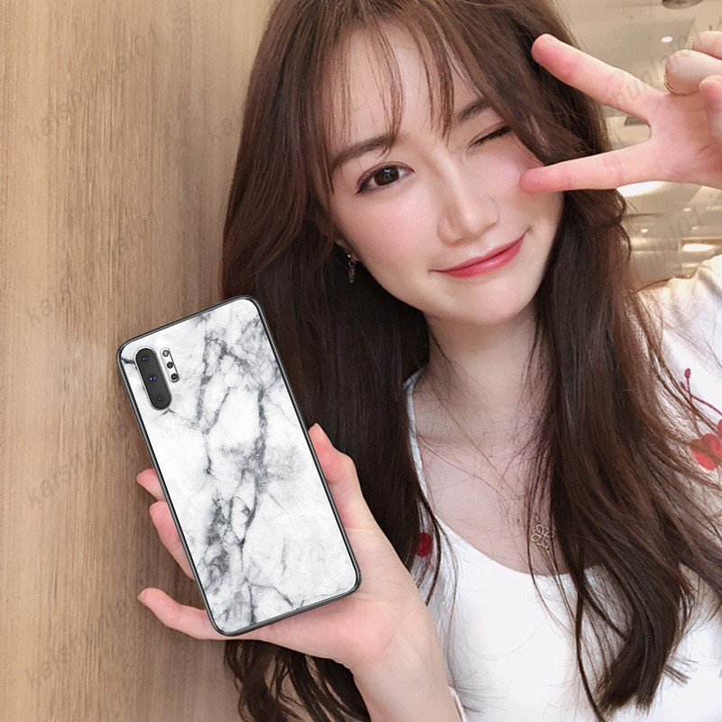 Samsung Note10/Note10+ note 10 ฟิล์มกระจกนิรภัย + Soft TPU Marble Pattern Hard Phone Case Cover
