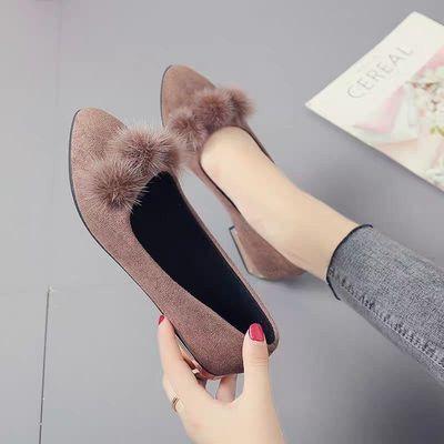 พร้อมส่ง💖 รองเท้าคัชชูเสริมส้น รองเท้าคัชชูขนเฟอร์ รองเท้าผู้หญิงแฟชั่น รองเท้าลำลองผู้หญิง