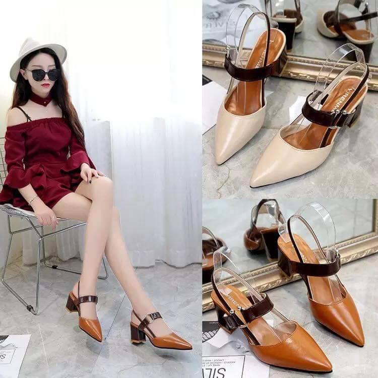 ✨✨ คัชชูหัวแหลม ส้นสูงหนา ผู้หญิง รองเท้าส้นสูงแฟชั่นขายดี รองเท้าคัชชูส้นสูง 2.5 นิ้ว  F035 ✨✨