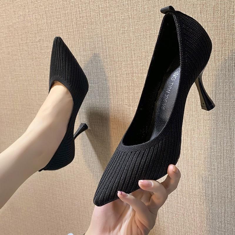 รองเท้าคัชชูหัวแหลมผู้หญิงรองเท้าส้นกริชผ้ายืดทอบินได้ทุกแบบ