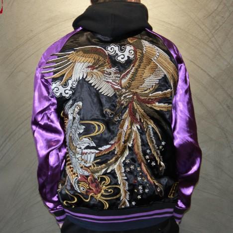 SUKAJAN พรีเมียมเกรด Japanese Souvenir Jacket  แจ็คเกตซูกาจันลาย KOI VS PHENIX