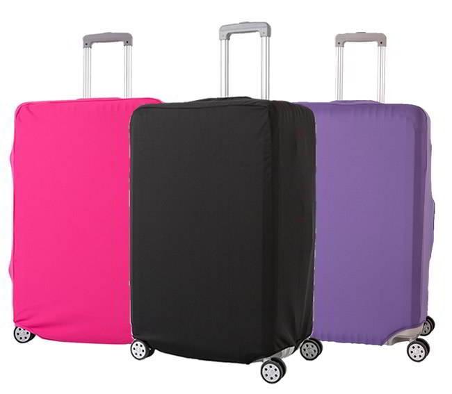 (ผ้ายืด สีเรียบ ขนาด M) ผ้าคลุมกระเป๋าเดินทาง ขนาด 22 - 24 นิ้ว มี 3 สีให้เลือก (ดำ ชมพู ม่วง)