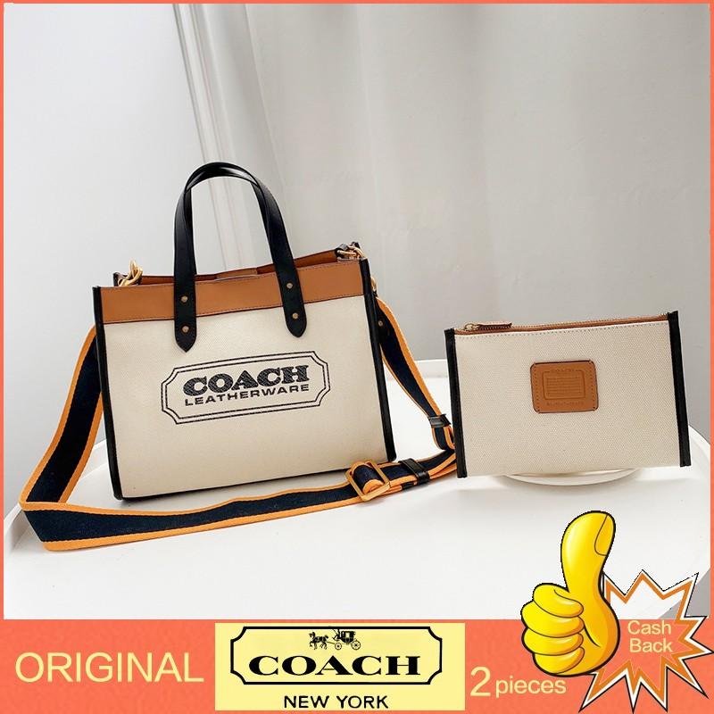 กระเป๋าของแท้Coach / กระเป๋าผ้าแคนวาสใหม่ / กระเป๋าถือสุภาพสตรี / กระเป๋าช้อปปิ้ง / กระเป๋าช้อปปิ้งแฟชั่น /