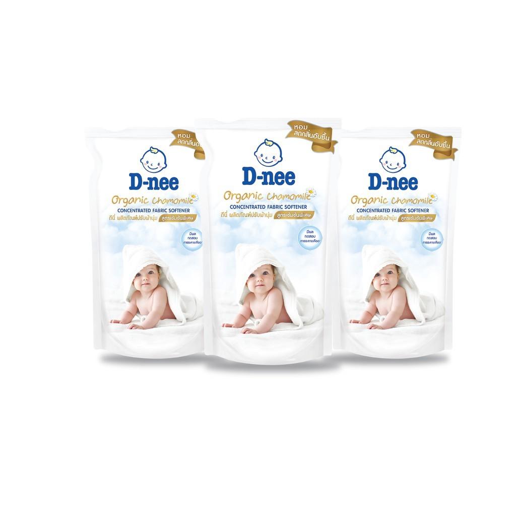 D-Nee น้ำยาปรับผ้านุ่ม สูตรเข้มข้นพิเศษ Organic Chamomile ชนิดเติม ขนาด 500 มล. (แพ็ค 3).