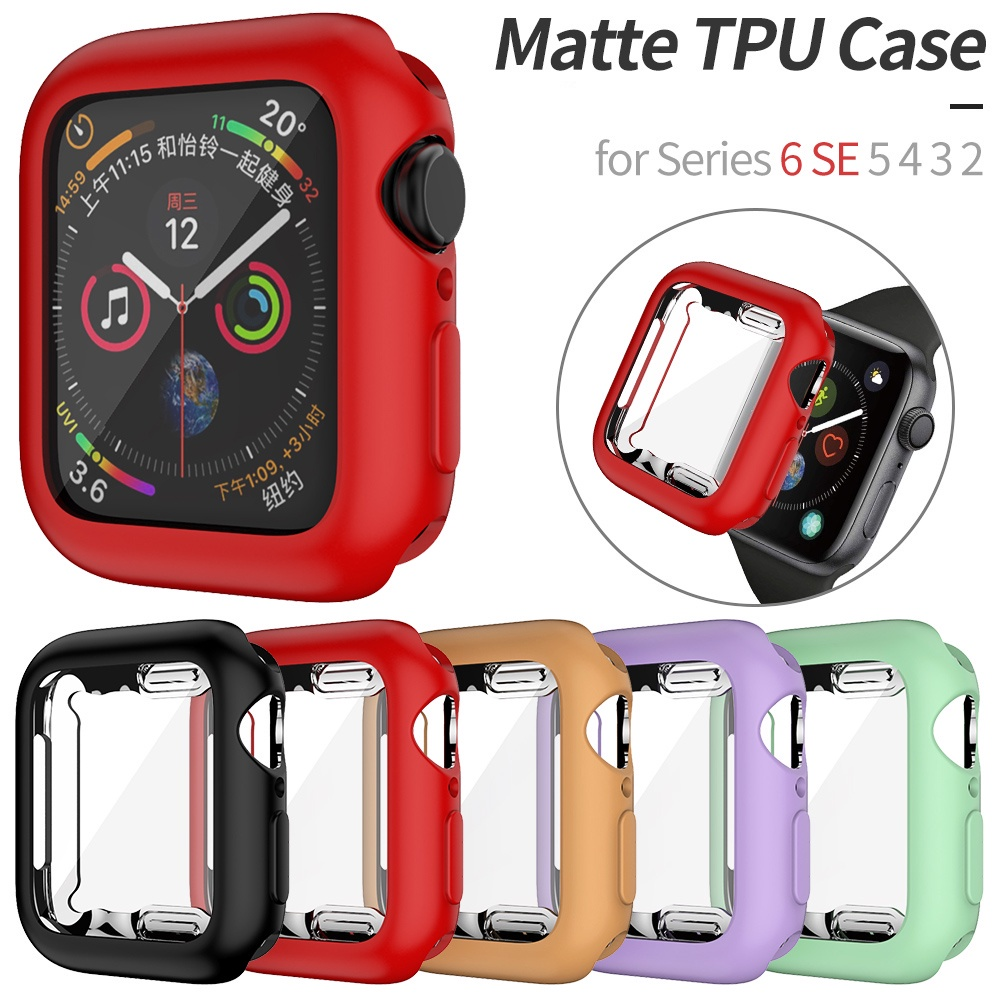Soft TPU Matte case for Apple Watch 44mm 40mm 38mm 42mm Cover for iWatch 6 SE 5 4 3 2 1 iWatch Case Accessories Full Protector