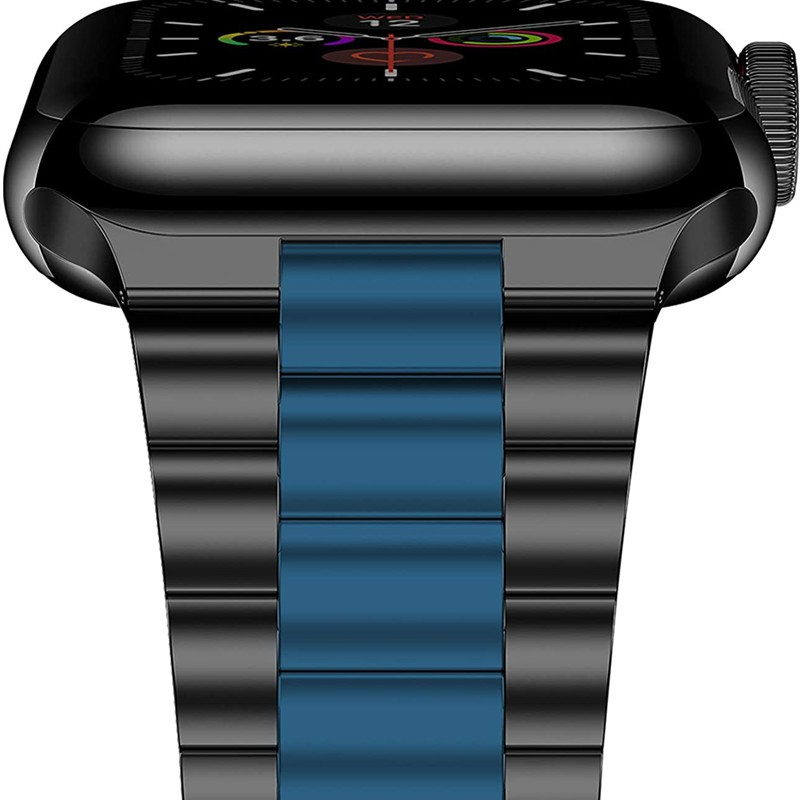 Black Blue Bands For Apple Watch SE Strap Series 6 5 44mm 40mm Stainless Steel Bracelet For iWatch 3 Applewatch 42mm 38m