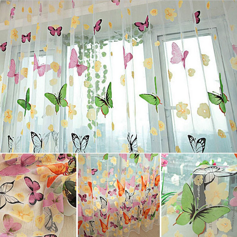 New Butterfly Curtains Flower Bedroom Window Door Balcony Sheer Tulle Drapes