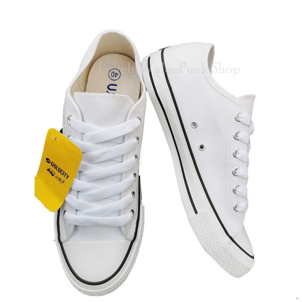 ยางยืดออกกําลังกาย┇Gold City-1207 สีขาว-ขีดดำ รองเท้าผ้าใบพื้นนุ่ม ใส่ทนSize 36-47