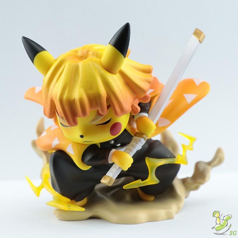 Anime Figure Toy Demon Slayer Pokémon Pikachu Cos Figure Model Car Decoration Cartoon Ornaments