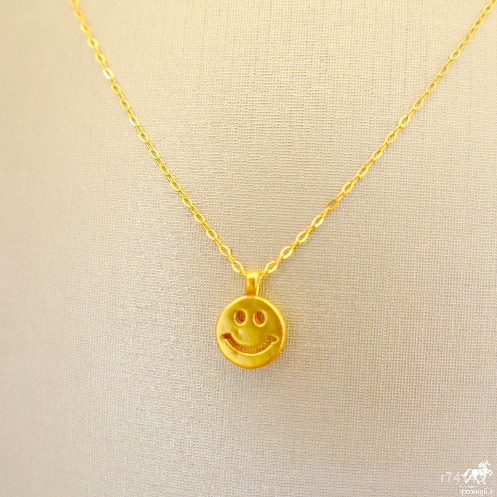 สร้อยคอเงินชุบทอง จี้สไมล์(Smile)ทองคำ 99.99% น้ำหนัก 0.1 กรัม ซื้อยกเซตคุ้มกว่าเยอะ แบบราคาเหมาๆเลยจ้า