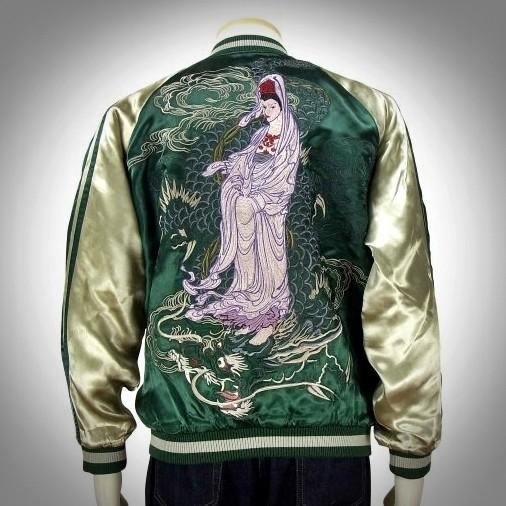 SUKAJAN แบรนด์แท้ญี่ปุ่น  Japanese Souvenir Jacket  แจ็คเกตซูกาจันลาย  Kaohsiung Guanyin