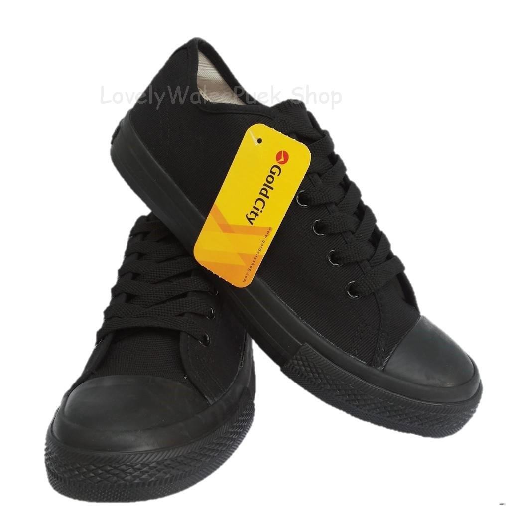 ยางยืดออกกําลังกาย❒✢⊙Gold City  รองเท้าผ้าใบ สีดำล้วน Size 36-47