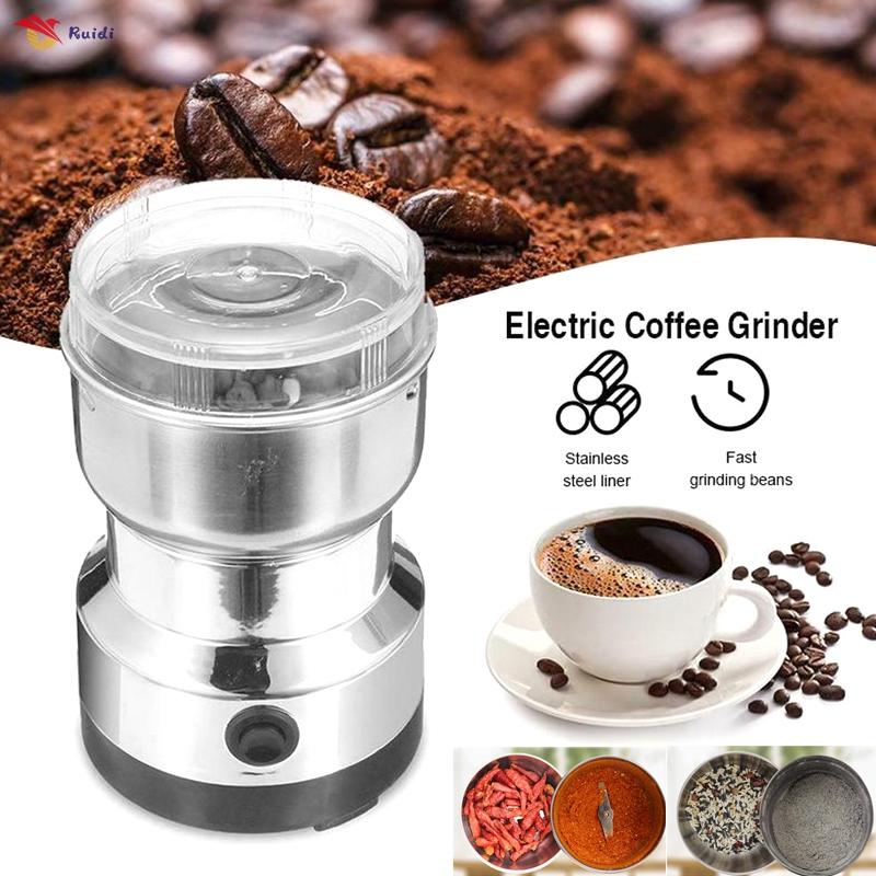 เครื่องบดไฟฟ้าเครื่องบดธัญพืชโรงโม่แป้งเมล็ดกาแฟบด เครื่องบดเมล็ดธัญพืช ขนาดเล็ก สำหรับใช้ในครัวเรือน เครื่องทำกาแฟ บดเครื่องเทศ บดสมุนไพร  Electric coffee grinder เครื่องบดกาแฟไฟฟ้า เครื่องชงกาแฟ เครื่องชงชา เครื่องบดธัญพืช แบบพกพา ผลิตจากวัสดุ ที่บดกาแฟ