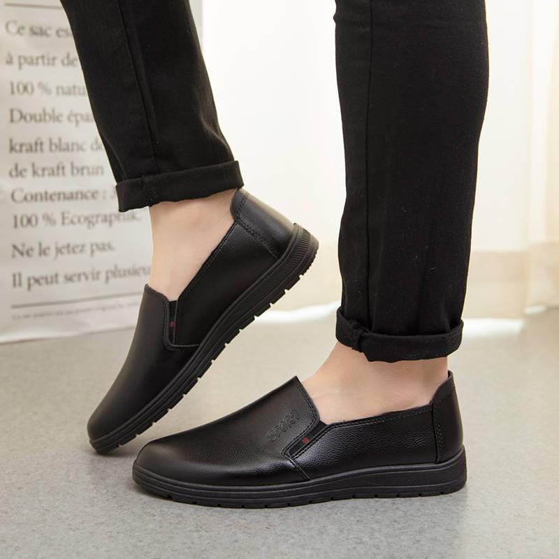รองเท้าชาย รองเท้าคัชชูผู้ชาย 2020 ใหม่ Chef รองเท้าหนังผู้ชายกันน้ำและกันน้ำมันรองเท้ากันลื่นโรงแรม KFC สีดำรองเท้าหนัง