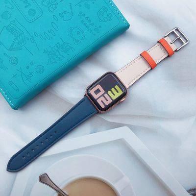 สายนาฬิกา สาย applewatch สายนาฬิกาอัจฉริยะ สายนาฬิกา applewatch Suitable for Apple Apple Watch Shoot Leather Single Circ