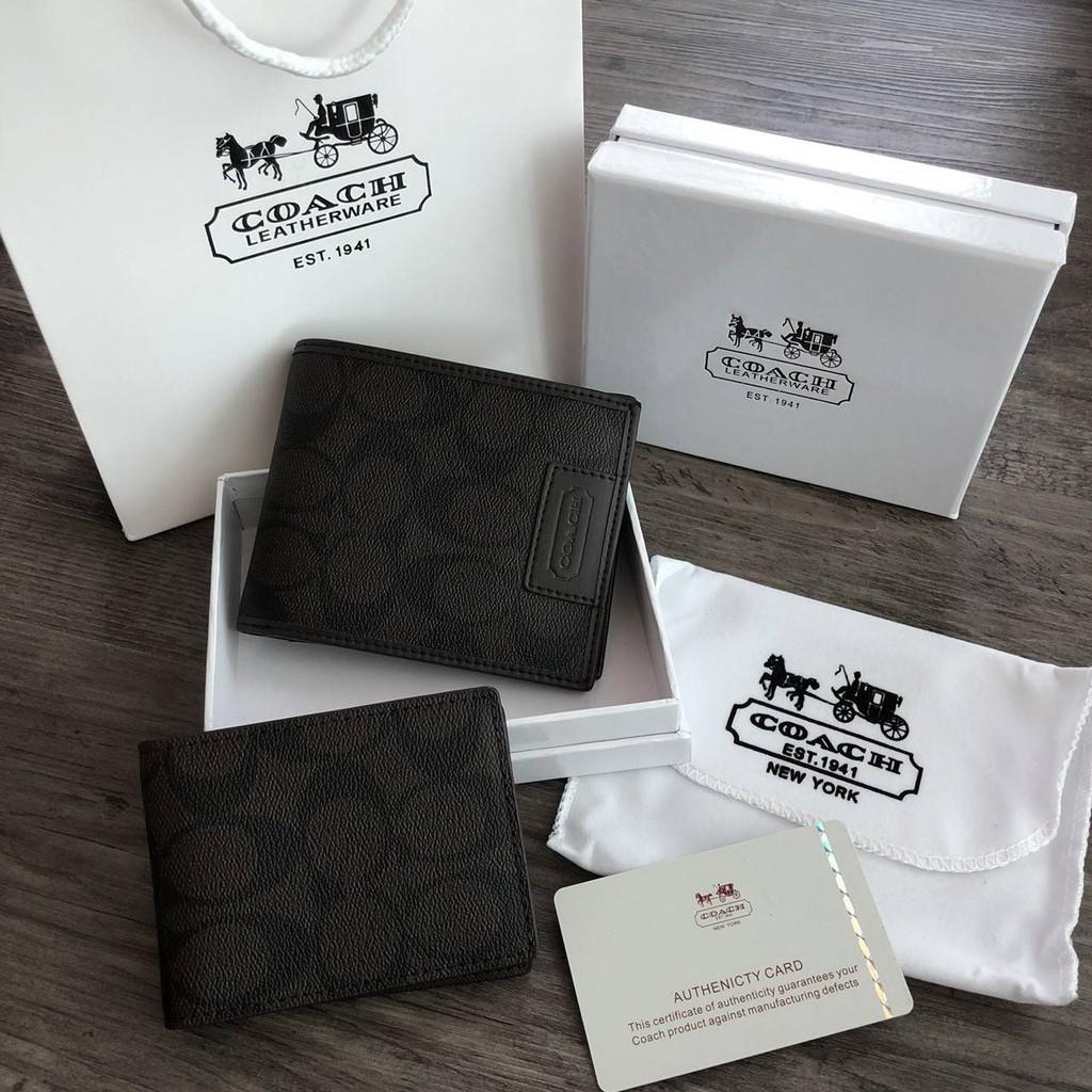 ♀กระเป๋าสตางค์ใบสั้น มาพร้อมกระเป๋าใส่บัตรใบเล็กอีก 1 ใบ COACH_Heritage Signature Compact ID Wallet  (งานแบรนด์แท้)