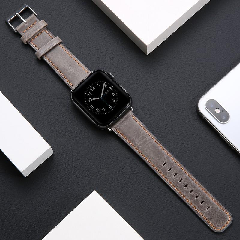 สายนาฬิกาข้อมือหนังแท้สําหรับ Applewatch Series 4 5 Generation Iwatch