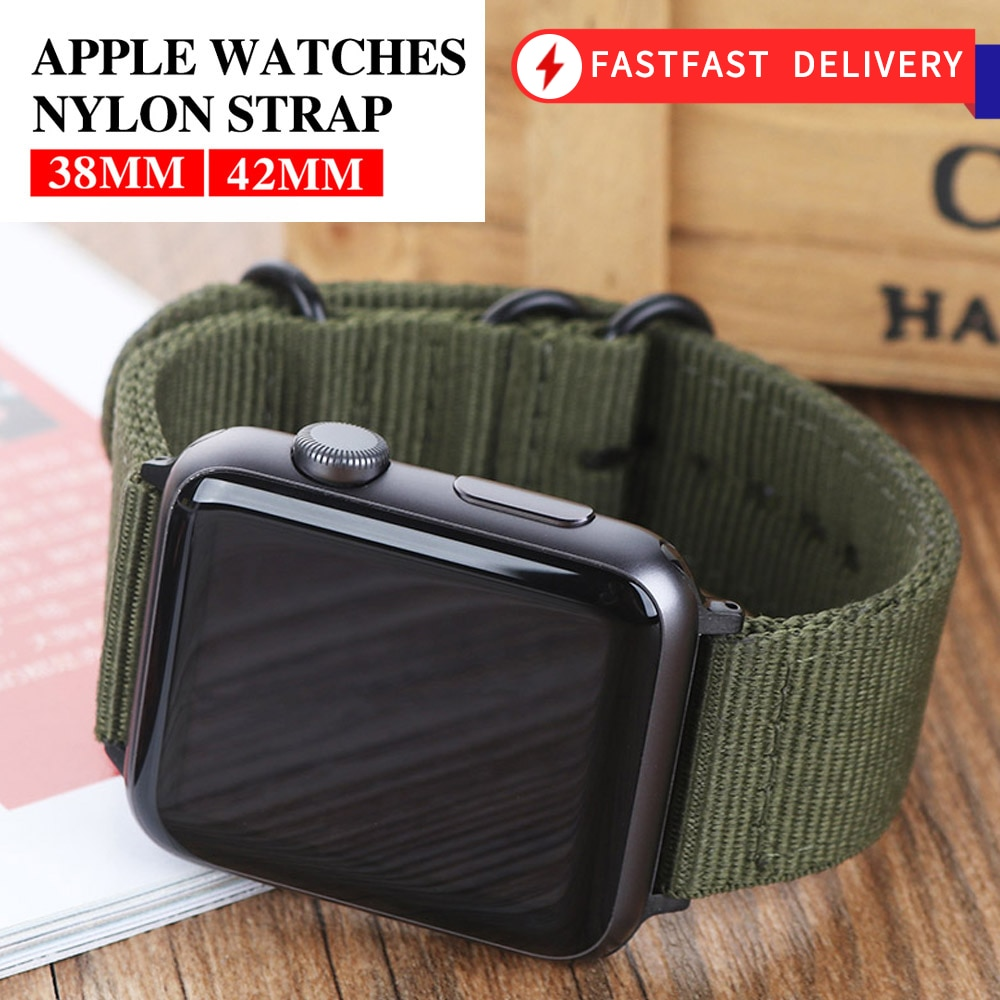 Hot Sell Nylon Watchband for Apple Watch Band Series 6/SE/5/4/3/2/1 Sport Leather Bracelet 42mm 44mm 38mm 40mm Strap For iwatch Band