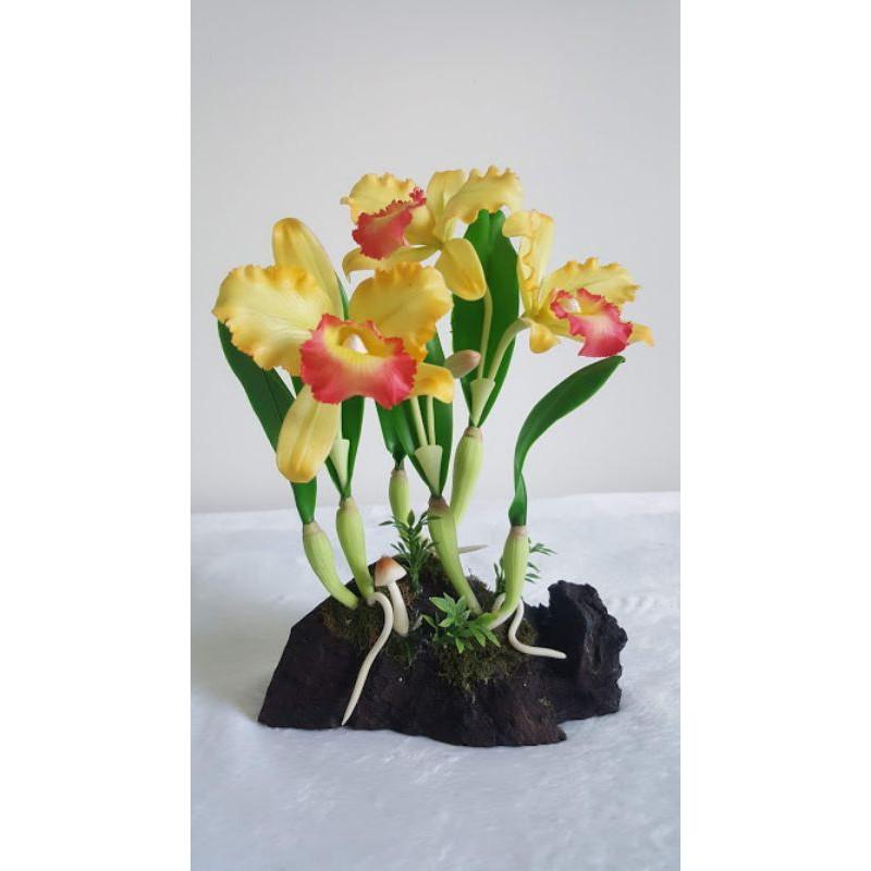 ดอกกล้วยไม้ประดิษฐ์แคทลียา ทำจากดินญี่ปุ่น Artificial Orchid