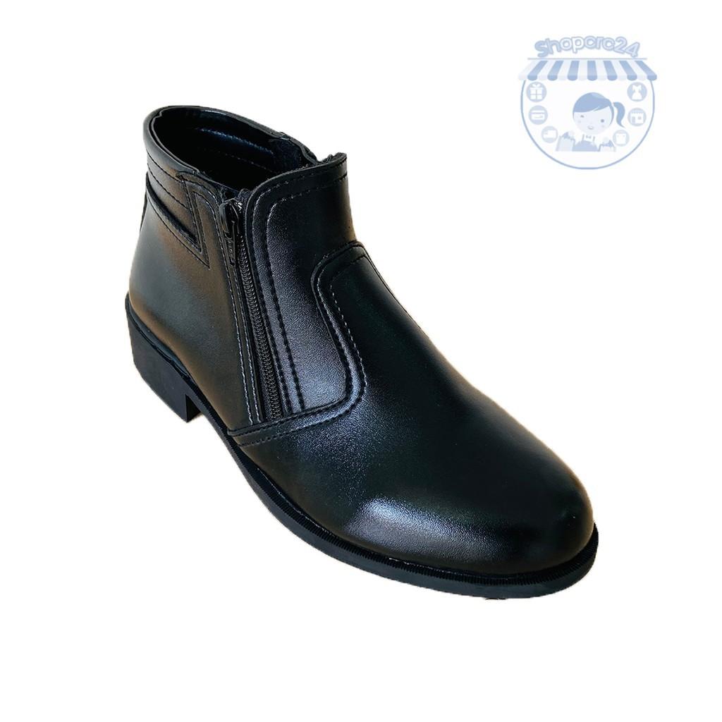 รองเท้าคัชชูผู้ชาย รองเท้าหนังผู้ชาย รองเท้า ฮาฟ หัวแหลม 333-1 หนังแท้ สีดำ ซิปคู่