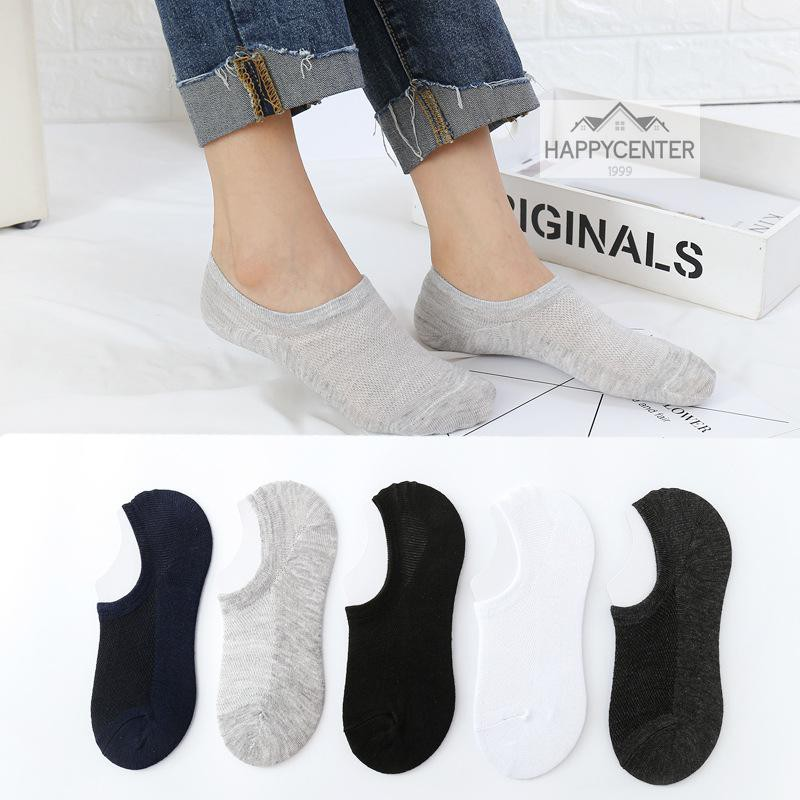 ?ถุงเท้าซ่อน เว้าข้อ สไตล์ญี่ปุ่น ผ้า Cotton นิ่ม มียางกันหลุดที่ส้นเท้าด้านใน ใส่มิดชิดกระชับในรองเท้า Hc99.