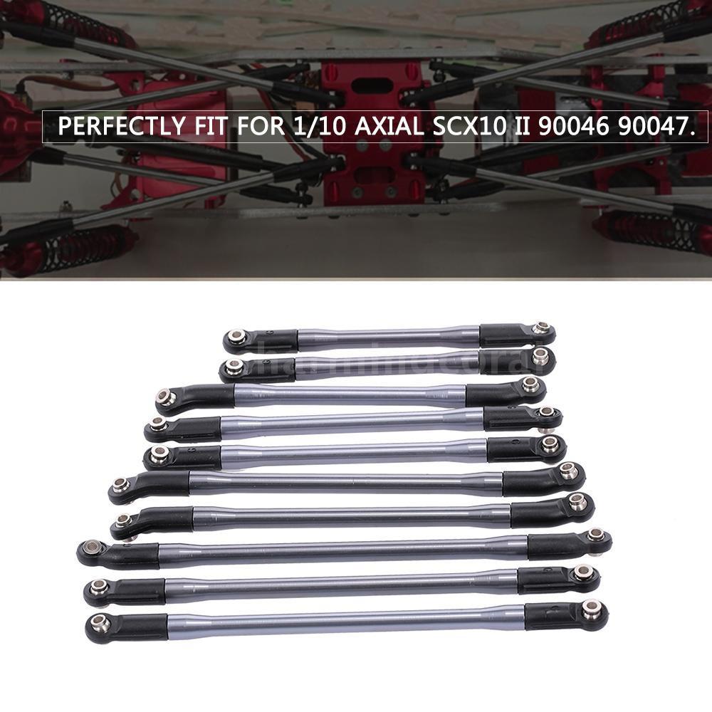 10PCS//Set Aluminum Rod Link Linkage for Axial SCX10 II 90046 90047 1//10 RC Crawl