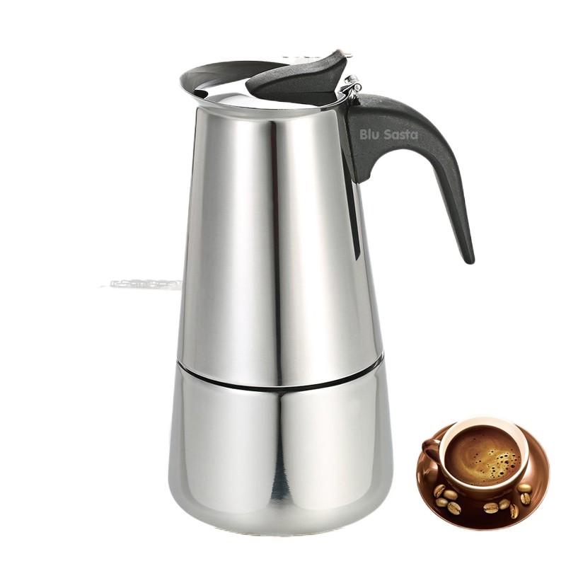 💰♗✺✢Blu Sasta กาต้มกาแฟสดพกพาสแตนเลส ขนาด 6 ถ้วยเล็ก 300 มล. หม้อต้มกาแฟแรงดัน เครื่องทำกาแฟสด โมก้าพอท มอคค่าพอท moka
