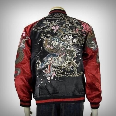 SUKAJAN แบรนด์แท้ญี่ปุ่น Japanese Souvenir Jacket แจ็คเกตซูกาจันลาย Dragon Flying