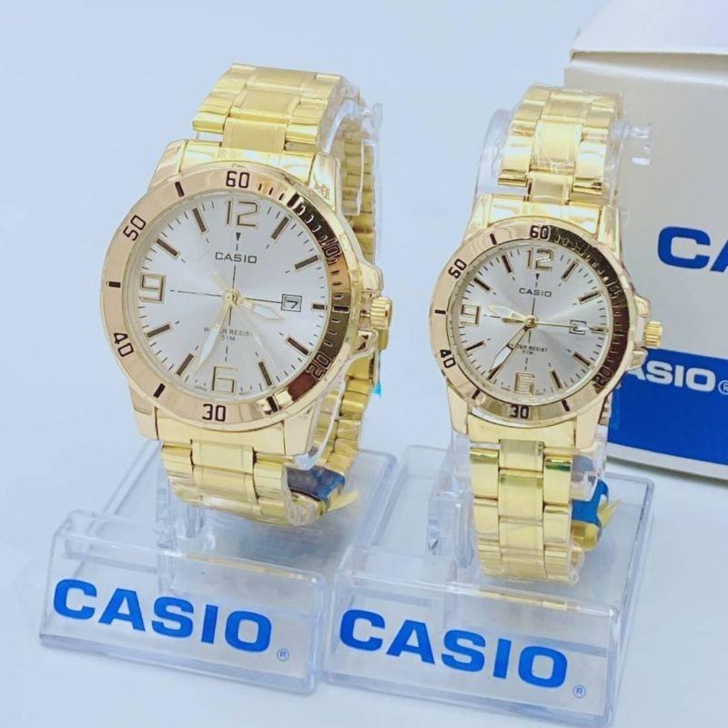 Casio นาฬิกาข้อมือสวยหรู แสดงวันที่ ปัดกระจกใหญ่ สายสแตนเลส รับประกัน 1 ปี