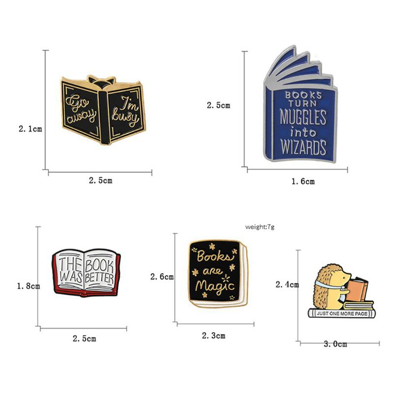 ARIN❥Book Brooch Cartoon Books Hedgehog Wizard Enamel Icon Badge Girls Pin