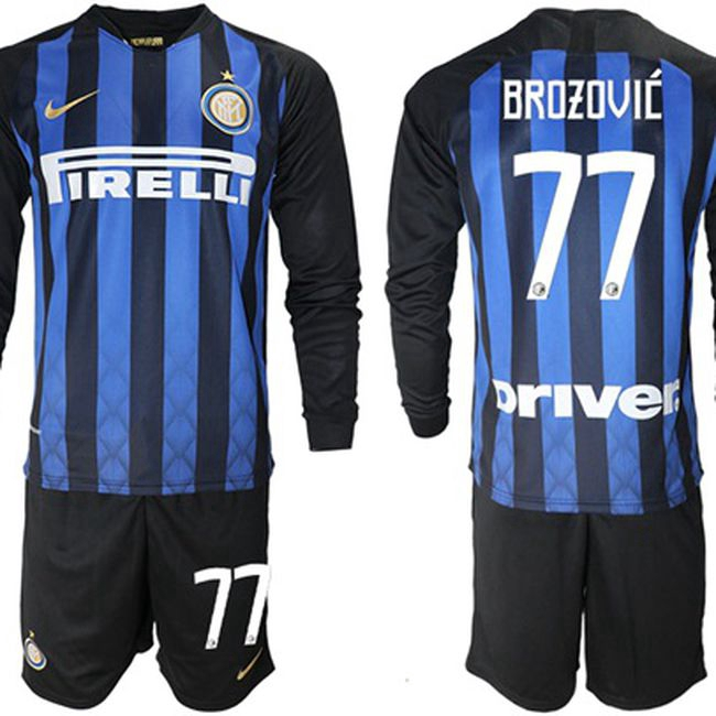 reputable site 5f4de a37b1 Inter Milan #77 Brozovic Home Long Sleeves Soccer Club Jersey Lightweight  breathable football jersey