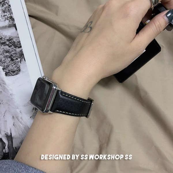 ✯สายนาฬิกา iwatch หนังย้อนยุคลายลิ้นจี่สำหรับ apple applewatch 6 รุ่น se tide แบรนด์ 5 บุคลิกชายและหญิง♚