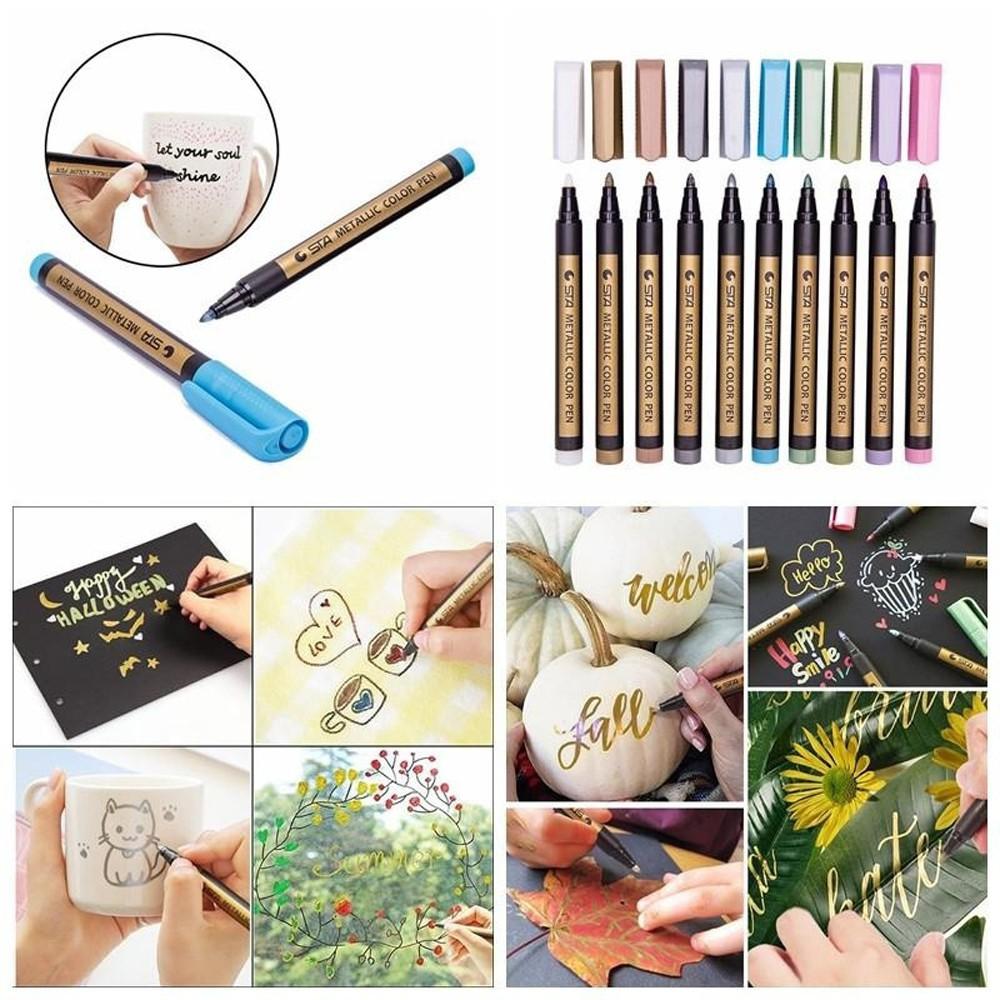 12 Color Metallic Paint Marker Pens Glass Painting Sheen Glitter Calligraphy Art