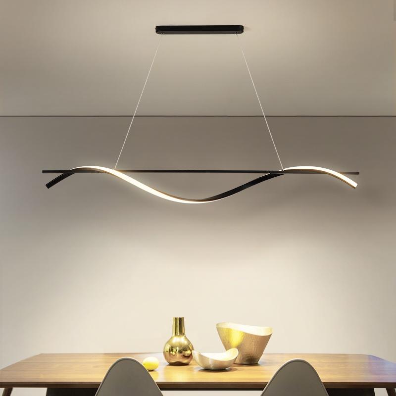ร้านอาหารโคมไฟระย้าที่ทันสมัยเรียบง่าย Ledคำยาวบุคลิกภาพความคิดสร้างสรรค์การออกแบบบาร์โคมไฟโต๊ะรับประทานอาหารโคมไฟ¥%¥.