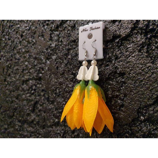 ต่างหู ดอกไม้ จำปาทอง ตุ้มหู จำปาทอง   ราคาถูก ราคาส่ง