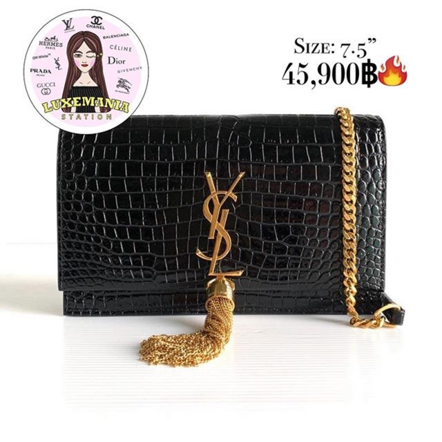 new】👜: New!! Saint Laurent Kate with Tassel in Embossed Cro