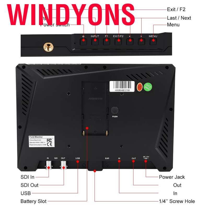 windyons lilliput a8s 8 . 9 นิ้ว ips screen 4 k full hd กล้องมอนิเตอร์สําหรับกล้อง dslr