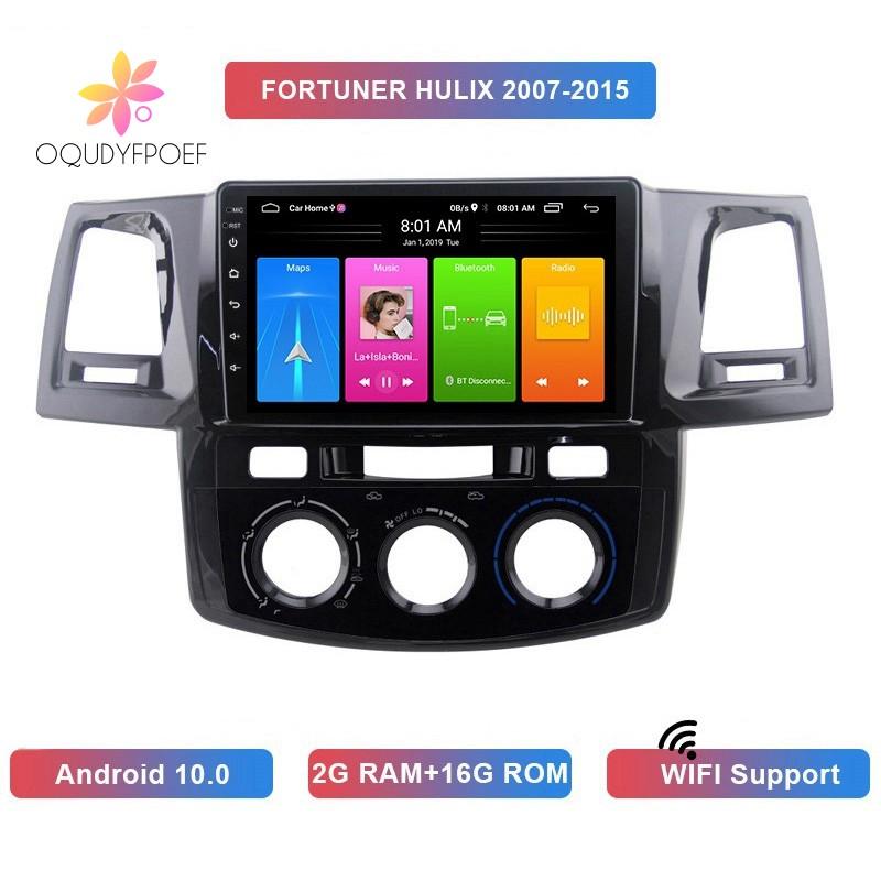 เครื่องเล่น Mp5 2 Din Android 10 . 0 2 + 16 Gb Gps บลูทูธสําหรับ Toyota Fortuner Hulix 2007-2015