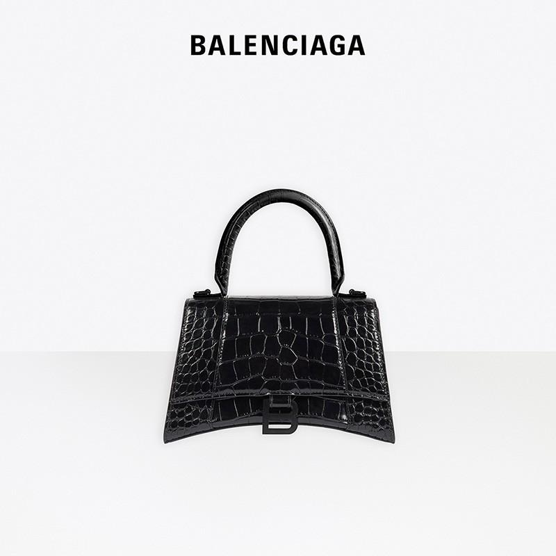 ◌ゐ  กระเป๋าเป้สะพายหลัง★★★❤🔥🔥กระเป๋ากระเป๋าเดินทาง Balenciaga ครอบครัวปารีส hourglass ผู้หญิงสีดำลายจระเข้กระเป๋าถือใบ