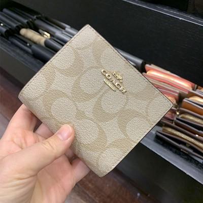 ぢヶ           Small Erbao Meidai COACH/Coach กระเป๋าสตางค์ผู้หญิงแบบสั้นพับครึ่งใบกระเป๋าใส่บัตรแบบปิ่นปักผม76879 2413