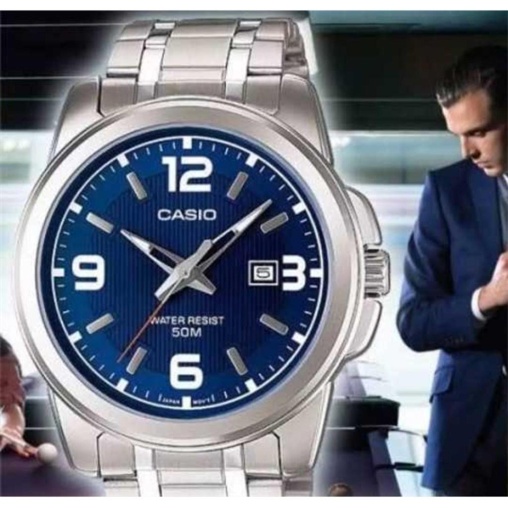 ✧Casio นาฬิกาข้อมือผู้ชาย สายสแตนเลส หน้าปัดดำ รุ่น MTP-1314D-1AV-100%