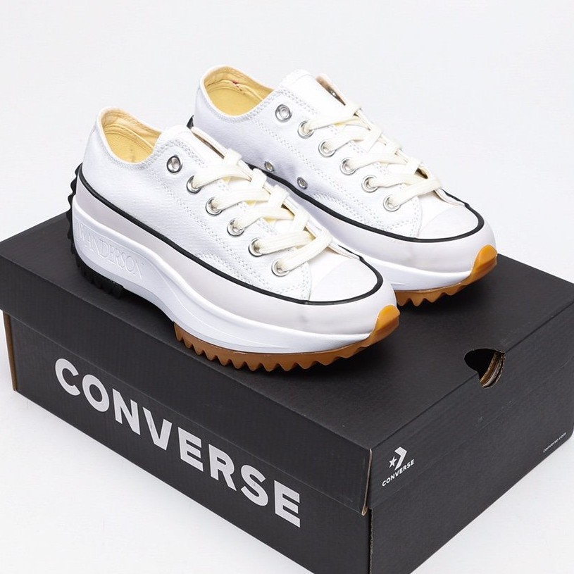 CONVERSE Run Star Hike low x JW Anderson  คอนเวิร์สแท้ รองเท้าผ้าใบ รองเท้าสตรี เพิ่มความสูงของรองเท้า รองเท้าผู้ชา