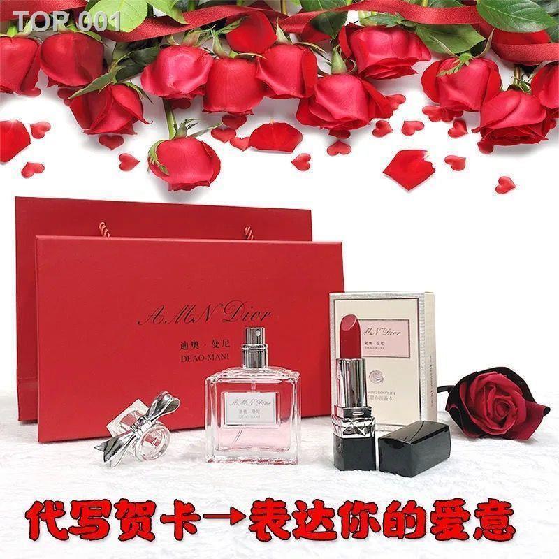 ❤ลดราคา❤✢❐✴Dior Manny Lipstick 999 Matte Flower Sweetheart Perfume Lasting Gift Set for Girlfriend