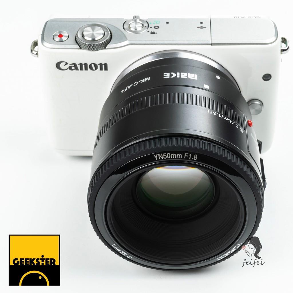 ✾เลนส์ YN 50mm f1.8 EF พร้อม Meike - EOS M ออโต้โฟกัส Adapter  สำหรับ CANON EFM ( YONGNUO 50 mm/ MK-C-AF4 Auto Focus )