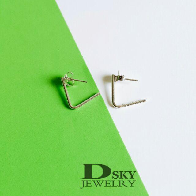 ต่างหูเงินแท้925 สไตล์มินิมอล(Minimal) ต่างหูแฟชั่น ต่างหูราคาถูก ทรงตัวแอลL ชุบทองคำขาว ไม่ลอกไม่ดำ