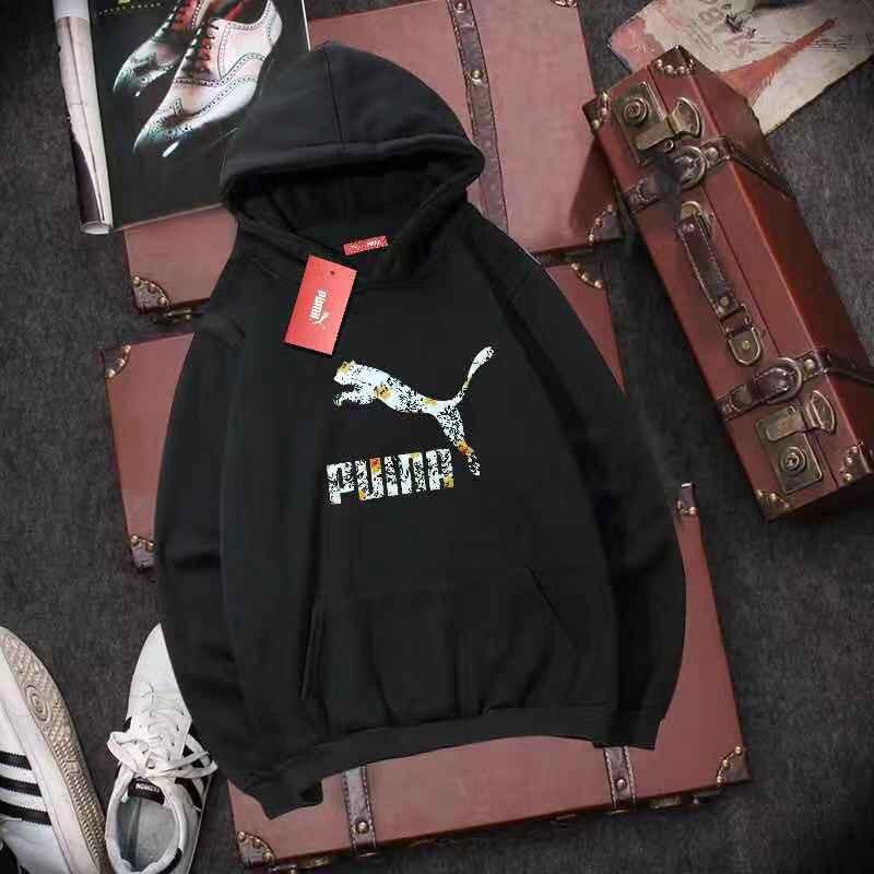 Puma เสื้อกันหนาวแขนยาวมีฮู้ดลายโลโก้