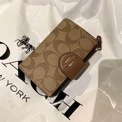 ≨✡Coach Coach กระเป๋าสตางค์ผู้หญิงแบบสแน็ปใหม่กระเป๋าสตางค์ใบสั้นส่งตรงจากแคนาดา