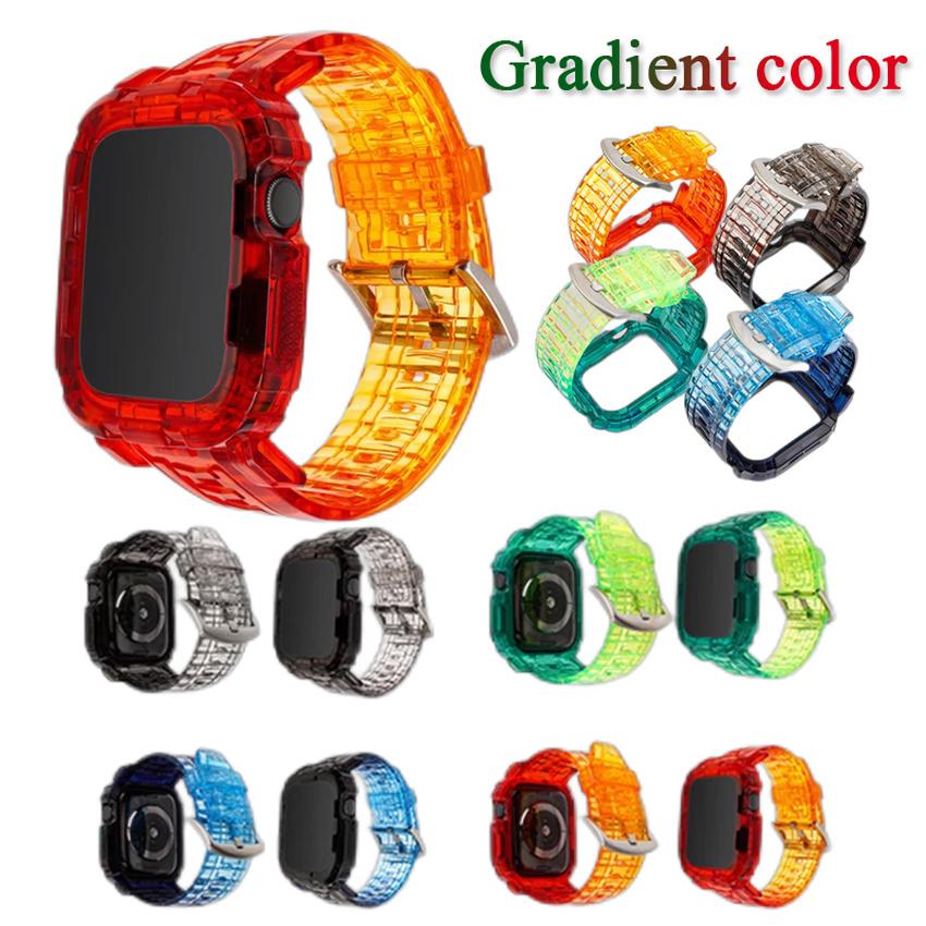 สายนาฬิกาข้อมือซิลิโคนใส + เคสสําหรับ Apple Watch Series 6 Se 5 4 3 2 1 Band Iwatch Band 38 มม . 40 มม . 42 มม . 44 มม .